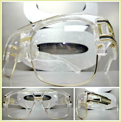 d297d1c9a37 OVERSIZED RETRO HIP HOP Style Clear Lens EYE GLASSES Transparent   Gold  Frame