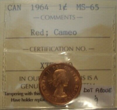 Canada Elizabeth II 1964 DOT Above 9 Small Cent - ICCS MS-65 Cameo (XTK 180)