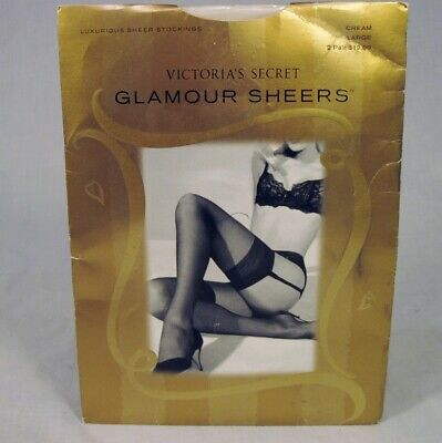 09eee8c8744 NEW Victorias Secret Stockings Glamour Sheers LARGE Cream 2 Pair Nylons