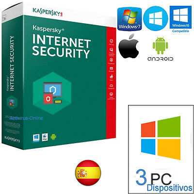 Kaspersky Internet Security Multidevice X3 2019  1Año /envio Solo Por Email