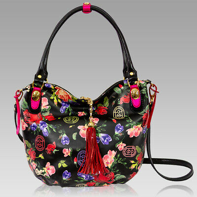4f9737d17b Marino Orlandi Designer Roses Printed Floral Black Leather Large Crossbody  Bag