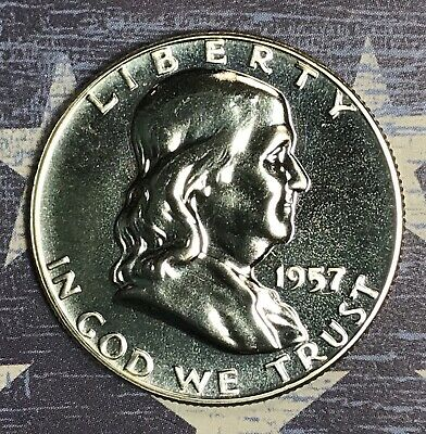 1957 Franklin Silver Half Dollar Proof. Collector Coin For Set.