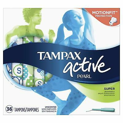 Tampax Active Pearl Super Unscented Tampons 36 Count Damaged Package B063