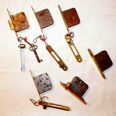 6 Antique Cupboard Locks Latches Iron 5 Keepers 1 Key Hardware Work #3 Lock