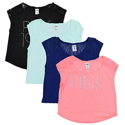 00058746ab0be VICTORIA'S SECRET PINK T-Shirt Short Sleeve Tee Casual Top Vs ...