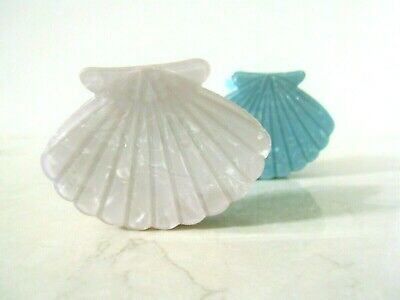 Medium blue or white marbled seashell acrylic and metal hair claw clip for fine