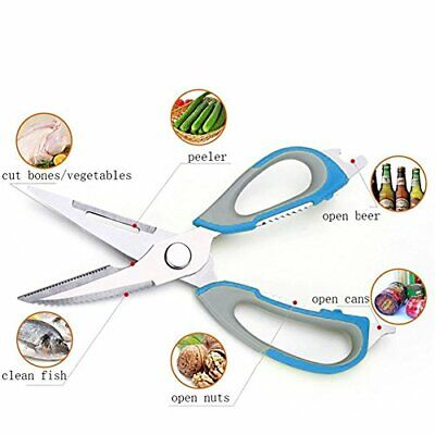 Kitchen Shears 8 in 1 - MISUNDER 2017 Stainless Steel Cooking Scissors (Blue)