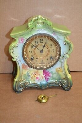 "Ansonia Royal Bonn ""La Fontaine"" Porcelain (Germany) Mantel Clock **READ**"