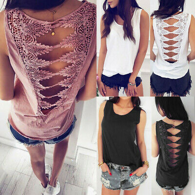 Women Sleeveless Open Back Lace Panel Top Shirt Loose Sexy Summer Vest Blouse