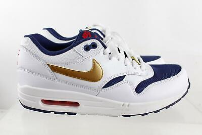 NIKE AIR MAX 1 Essential White Navy Blue Lace Up Men's Sneakers Size 9.5