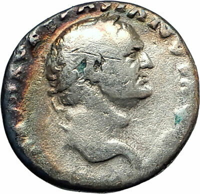 VESPASIAN 70AD Rome Authentic Ancient Silver Roman Coin PAX Eirene Peace i76234
