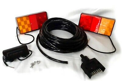 2 Led Trailer Lights Kit, 1 License Plate Light, 1 Flat Plug, 10M Of 5 Core Wire