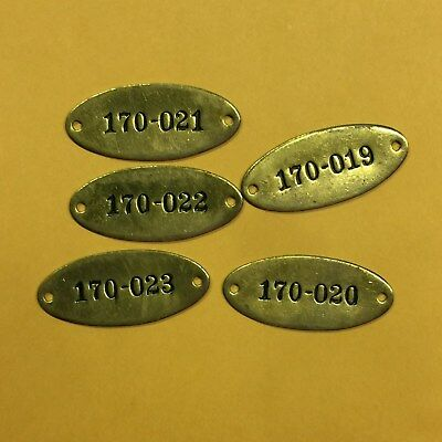 Industrial Sequential Locker Tags Unused 10 Vintage Brass Tags Steampunk