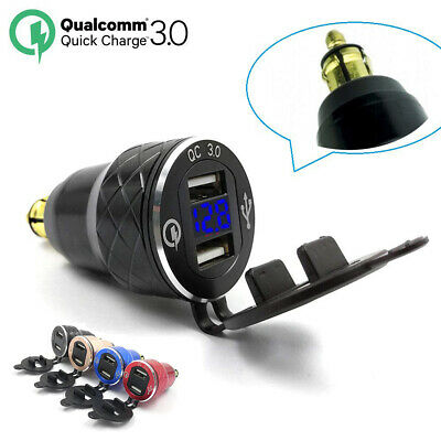 CNC QC3.0 Dual USB Charger DIN Socket Digital Voltmeter for BMW S1000 RR,R1200GS