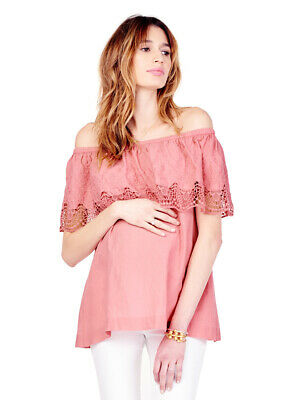 Ingrid & Isabel Maternity Off the Shoulder Lace Top Small 4 6 Rose Pink New