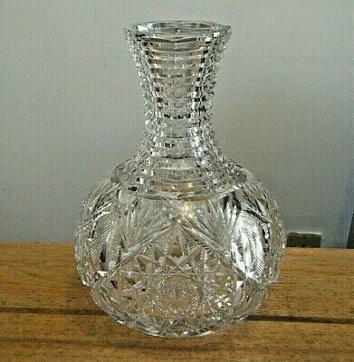 Antique Abp Victorian Very Fine Cut Crystal Carafe Water Wine Bottle Decanter