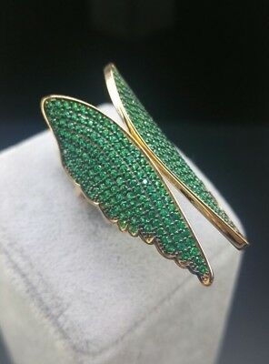 925 Silver & Rose Gold Jewelry AAA Quality Micro-Pave Emerald  Angel Wings Ring
