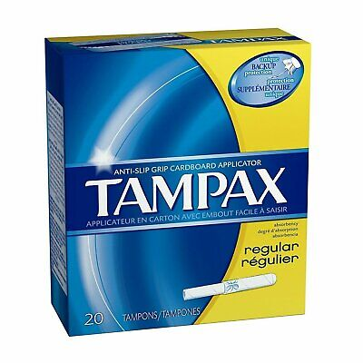 Tampax Cardboard Applicator, Regular Absorbency Tampons 20 CT (Pack of 12)