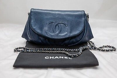 3d2667aeb118 VERIFIED Authentic Chanel Blue Caviar Leather Half Moon WOC Wallet on Chain  Bag