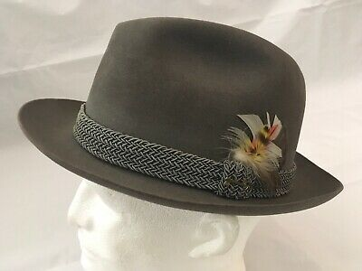 e1789a9c8ff Vintage Stetson Key Club Gray Fedora Hat Union Size 7 1 4 Made In USA