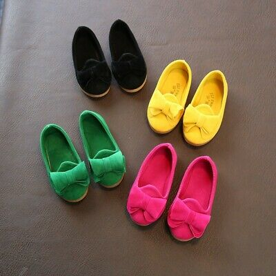 Toddler Kids Girls Dresses Shoes Baby Princess Flats Bow-knot Casual Soft Shoes