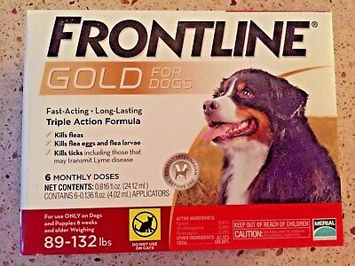 FRONTLINE GOLD FOR DOGS 89 TO 132 LBS 6 DOSES EPA Approved !!  FREE SHIPPING !!