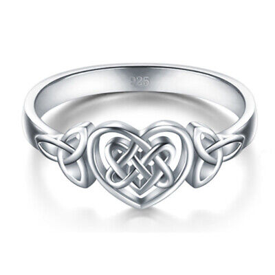 925 Silver Filled Heart Celtic knot Rings Wedding Band Rings Jewelry