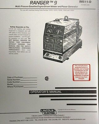 LINCOLN RANGER 9 Welder Kohler CH20 Engine Operator Service 3 Manuals 294pg
