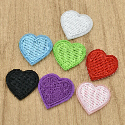 10x Heart Iron on Embroidered Patch for Clothing Hat Bag Sew on Applique Sticker