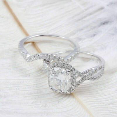 3.4CT Cushion Cut Diamond Engagement Wedding Ring In Solid 14K White Gold Finish