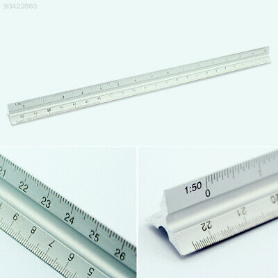 18F1 30CM Aluminum Metal Triangle Scale Tri-Scale Architect Engineers Drawing