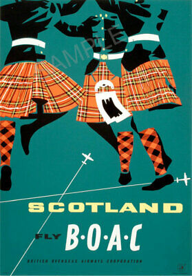 Vintage Airline Poster BOAC Fly Scotland Advert Highland Fling ART PRINT A3 A4