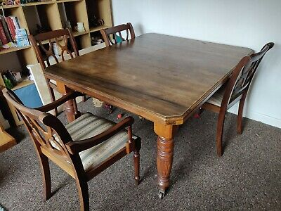 Extendable Antique Wooden Table with Four Chairs