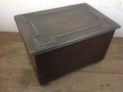 Oak wood coal wood scuttle storage chest old metal lining
