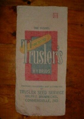 Vintage Double Sided Trusler's Baumheckel Indiana Canvas Feed Corn Seed Sack