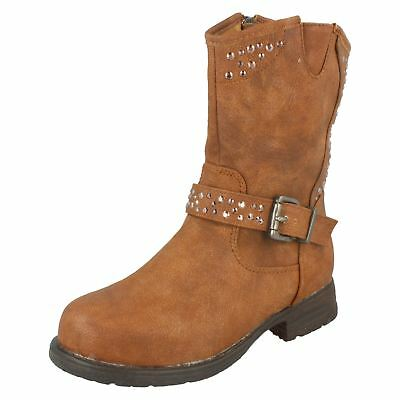 Girls Spot On Zip Stud & Buckle Fur Lining Ankle Boots H5R020