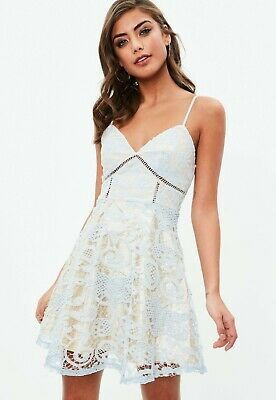 a6ba97312539 MISSGUIDED WOMEN S WHITE Ladder Detail Lace Skater Dress size 8