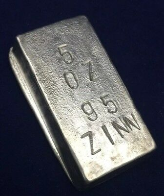 95 Zinn Hand Poured Pewter Bar 5oz Loaf Style Ingot Bullion Bar Limited Run Sexy