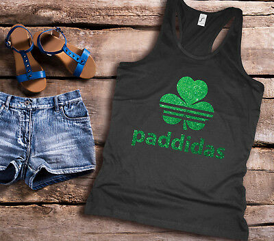 St Patricks Day Paddidas racer back ladies black Tank top with green glitter.