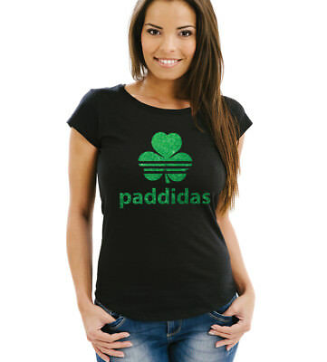 St Patricks Day Paddidas ladies black T-shirt with green glitter.