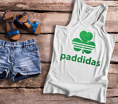 St Patricks Day Paddidas racer back ladies white Tank top with green glitter.