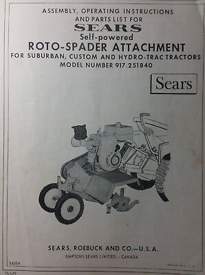 SEARS SUBURBAN 725 Riding Garden Tractor & Engine Owner