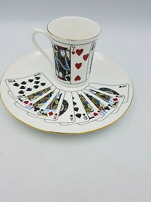 Queen's Cut For Coffee Bone China Coffee Cup Side Plate/Saucer Pack Of Cards Duo