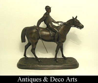 Antique Bronze Patinated Spelter Horse with Jockey