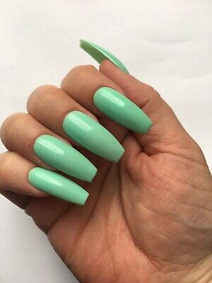 *NEW Hand Painted Press on/False Nails Mint Green Long Coffin Gel Polish UK*