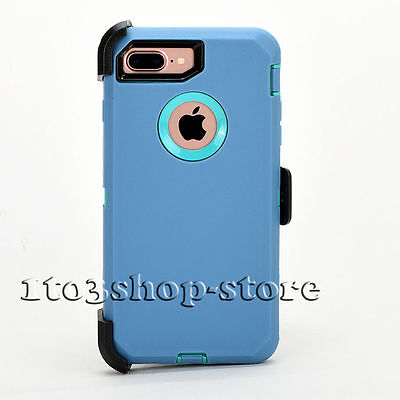 iPhone 7 Plus iPhone 8 Plus Case w/Holster Clip Fits  Defender Blue Teal