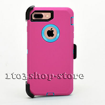 iPhone 7 Plus iPhone 8 Plus Case w/Holster Clip fits Defender Pink Blue