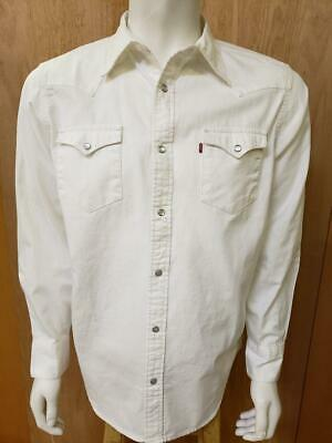 cda0666b LEVI'S MEN'S LONG Sleeve Western Pearl Snap Front Twill Shirt White ...
