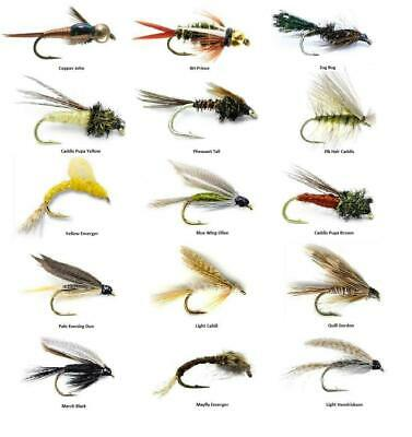 Fly Fishing Flies Assortment - For Trout Fishing - 15 Flies - 15 Patterns