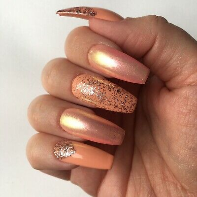 Hand Painted Press On False Nails Peachy Pink Rose Gold Glitter Long Coffin 15 50 Picclick Uk